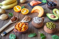 Foods That Are High in Potassium. Healthy Foods That Are High in Potassium on the wooden table royalty free stock images
