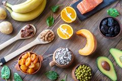 Foods That Are High in Potassium. Healthy Foods That Are High in Potassium: top view royalty free stock photography