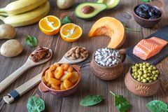 Foods That Are High in Potassium. Healthy Foods That Are High in Potassium: top view royalty free stock photos