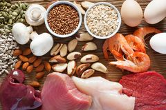 Foods high in selenium. As brasil nuts, tuna, shrimps, beef, liver, mushrooms, pumpkin seeds, sunflower seeds, buckwheat, oatmeal, almonds and eggs. Top view royalty free stock photo
