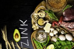 Foods High in Zinc as octopus, beef, buckwheat, yellow cheese, spinach, avokado,pea, mushrooms, bean, radishes, eggs. Top view Stock Image
