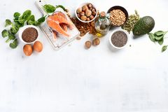 Foods Highest in Omega 3 Fatty Acids. Top view with copy space royalty free stock image