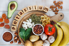 Foods Highest in Potassium. Potassium in food royalty free stock images