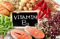 Foods Highest in Vitamin B1 Thiamin. Top view stock image