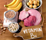 Foods Highest in Vitamin B6 on a wooden board. Royalty Free Stock Photo
