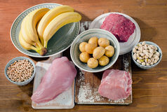 Foods Highest in Vitamin B6 on wooden board. Healthy food. Royalty Free Stock Images
