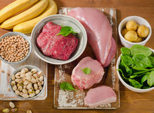 Foods Highest in Vitamin B6 on wooden board. Royalty Free Stock Photography