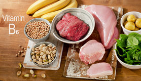 Foods Highest in Vitamin B6 on a wooden table. Royalty Free Stock Images