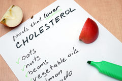 Foods that lower cholesterol Royalty Free Stock Image