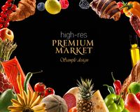 Foods market's premium line as healthy, delicious and authentic Royalty Free Stock Images