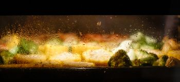 Foods in oven stock photo