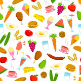Foods pattern. Seamless pattern with various foods vector illustration