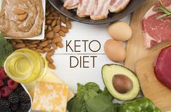 Foods that are Perfect for the Keto Diet. Various Foods that are Perfect for the Keto Diet stock photo