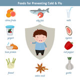Foods for preventing cold and flu. Infographic element. Health concept Stock Image