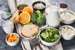 Foods rich in calcium. Healthy food stock photos
