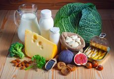 Foods rich in calcium stock photography