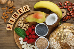 Foods rich in fiber. As rye bread, wheat bran, white beans, red beans, spinach, almonds, poppy seed, pears, bananas, coconut, raspberries, pistachios, walnuts Stock Photo