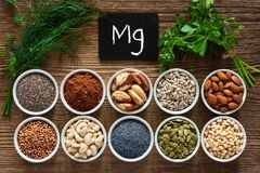Foods rich in magnesium royalty free stock image