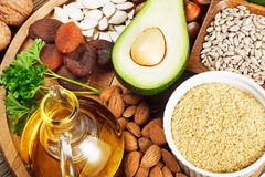 Foods rich in vitamin E Royalty Free Stock Photos