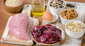 Foods with Selenium on a wooden tabe royalty free stock photo