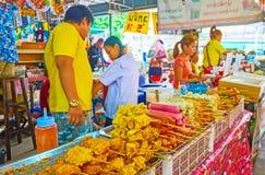 The foods on skewers in Talad Saphan Phut market, Bangkok, Thailand