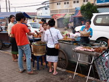 Foods and snacks, daily life on a market near Meko Royalty Free Stock Images