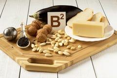 Foods som är rika i vitaminet B2 Royaltyfri Bild