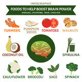 Foods to help boost brain power infographic, vegetable and fruit Stock Photo