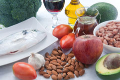 10 foods to lower cholesterol Royalty Free Stock Photography