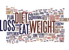 Foods To Supplement Your Weight Loss Diet Text Background  Word Cloud Concept Royalty Free Stock Photography