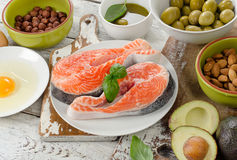Foods of unsaturated fats. Healthy eating concept Royalty Free Stock Image