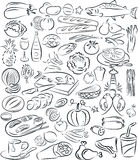 Foods. Vector illustration of food collection in black and white Stock Images
