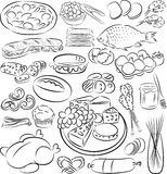 Foods. Vector illustration of food collection in black and white Royalty Free Stock Photos