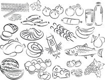 Foods. Vector illustration of food collection in black and white