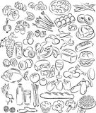 Foods. Vector illustration of food collection in black and white Stock Photo