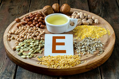 Foods with vitamin E Stock Photos