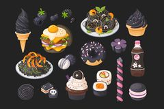 Foods that you can meet in black color. Vector illustrations. Foods that you can meet in black color. Vector illustrations of classic dishes royalty free illustration