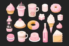 Foods that you can meet in pink color. Vector illustrations. vector illustration