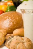 Foodstuff composition with bread and milk Royalty Free Stock Images