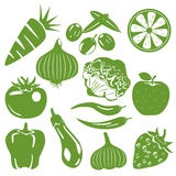 Foodstuff green icons set stock illustration