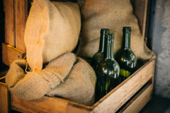 Foodstuff storage or food stock and drink bottle goods cargo shipping. Concept stock photography