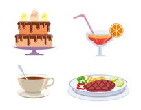 Foodstuffs color icons Royalty Free Stock Photography