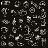 foodstuffs fruit légumes Nourriture Ensemble de croquis de vecteur Image libre de droits