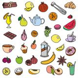 Foodstuffs. fruit. vegetables. food. set of color sketches Royalty Free Stock Photography