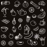 Foodstuffs. fruit. vegetables. food. set of vector sketches Royalty Free Stock Image