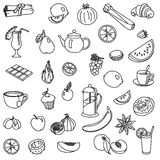 Foodstuffs. fruit. vegetables. food. set of vector sketches Royalty Free Stock Photo