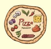 Foodstuffs. Ingredients for pizza. Color vector illustration on beige Stock Images