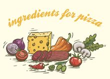 Foodstuffs. Ingredients for pizza. Set of color sketches on white Stock Photography