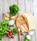 Foodstuffs for sandwiches. Top view foodstuffs for sandwiches on wooden background Stock Photography