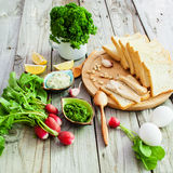 Foodstuffs for sandwiches Stock Images